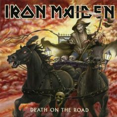 Death On The Road, a live album, released by the heavy metal band Iron Maiden in Recorded while on the Dance of Death Tour 2003 in Dortmund, Germany. Iron Maiden Album Covers, Iron Maiden Cover, Iron Maiden Albums, Iron Maiden Band, The Road, Cover Art, Eddie The Head, Brave, Skull Art