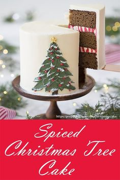 A moist and richly spiced gingerbread cake filled with lemon buttercream, covered in silky Italian buttercream, faced with a beautiful buttercream Christmas tree. A moist and richly spiced gingerbread cake filled with lemon buttercream, c Christmas Tree Cake, Christmas Cake Decorations, Holiday Cakes, Christmas Goodies, Christmas Desserts, Christmas Treats, Christmas Gingerbread, Christmas Birthday Cake, Italian Buttercream