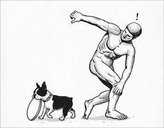 Dog & Frisbee on Threadless Chen, Boston Art, Dark Sense Of Humor, Boston Terrier Love, Boston Terriers, Cultura Pop, Funny Cute, Fur Babies, Graphic Art