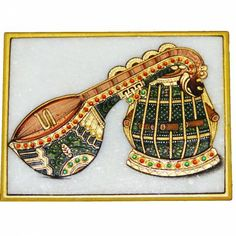 Soulful Strings Marble Art - A sitar is the star in this timeless art tradition of hand-painted marble.