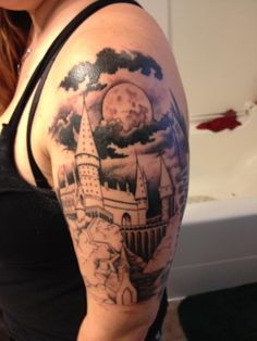 HOGWARTS WILL ALWAYS BE THERE TO WELCOME YOU HOME. <3 The start of my Harry Potter sleeve - color will be added soon.