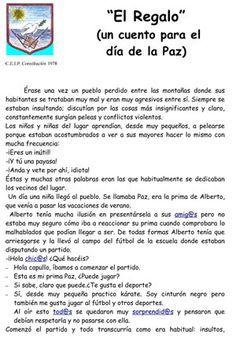 El Regalo (Día de la Paz)-1 Peace Crafts, Teaching Spanish, Reading Comprehension, Back To School, Homeschool, Religion, Learning, Day, Books