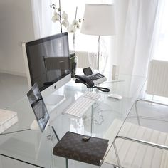 Small Home Office Design Ideas - Glass Desk — Hello Lovely Living Home Office Space, Office Workspace, Home Office Design, Home Office Decor, House Design, Home Decor, Office Setup, Office Lighting, Desk Space