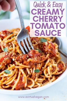 A rustic, creamy, thick & full of flavour Cherry Tomato Sauce made with only 6 ingredients. Easy enough for midweek yet worthy of company. Perfect for serving over pasta! Best Vegan Recipes, Vegan Dinner Recipes, Popular Recipes, New Recipes, Family Recipes, Clean Recipes, Veggie Recipes, Delicious Recipes, Recipies
