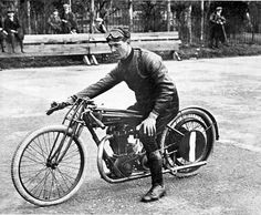 Legendary motorcycle sprinter and hill climb racer George Dance who was the first rider of a 350cc bike to lap Brooklands at over 80mph, in April 1922. Sunbeam 'Works' 350 sprinter distinguished by the small triangular tank.