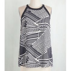 Sunny Girl top for Modcloth Chic sleeveless loose blouse with black border, triangular back cut out and tie. Abstract pattern  with zig zags, stripes and tiny arrows. Like new! ModCloth Tops