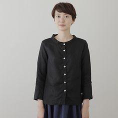 shop fog linen — Fanny Stand Collar Shirt: Black