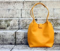 Yellow leather tote bag,shopping bag, leathe from BogaBag by DaWanda.com