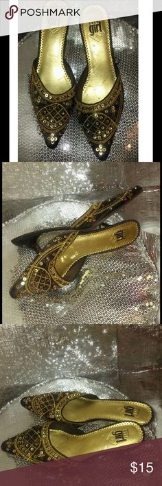 Elle Girl Boho Slippers Elle Girl Brown Boho Gold Sequins Slippers w/mini heels. Elle Shoes Heels
