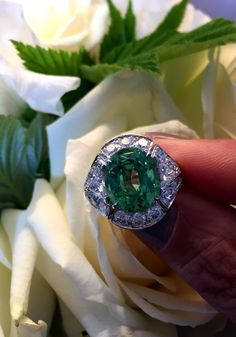 The tsavorite in this ring by Louis Vuitton is from a new mine to high jewellery: the Merelani, and it produces these softer, mintier coloured rings. Discover Louis Vuitton's high jewellery collection that sold out almost in an instant, thanks to the use of exquisite gemstones and stunning fashion jewellery design. http://www.thejewelleryeditor.com/videos/louis-vuitton-watches-and-jewellery/revealed-louis-vuittons-bold-new-blossom-high-jewellery-collection/?action=play #jewelry
