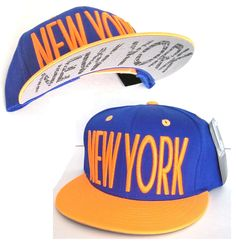nwt NEW YORK SNAPBACK HAT Blue Neon-Orange Flat-Bill Cap NYC City Knicks Mets #NewYorkKnicks