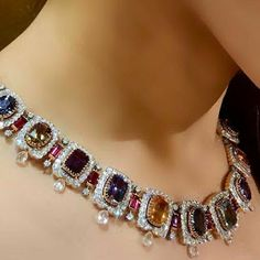 """Continuing weekend celebration with this magnificent necklace set with rainbow of the most precious gemstones; natural no heat sapphire and rubies, from """"Colourful"""" collection 🌈 Rose Gold Jewelry, High Jewelry, Luxury Jewelry, Diamond Jewelry, Gemstone Jewelry, Women Jewelry, Fashion Jewelry, Diamond Bangle, Diamond Pendant Necklace"""