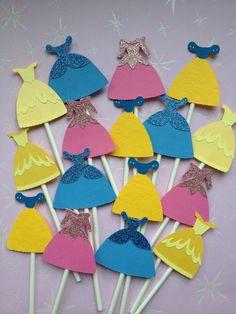 12 Princess Cinderella Dress Cupcake Toppers,Aurora,Cinderella,Sleeping Beauty,Baby Shower,Princesses,Birthday Party,Disney Princess. $10.00, via Etsy.