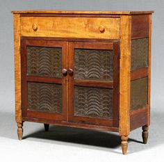Southern tiger maple pie safe, figured maple and cherry, punched tin panels