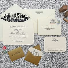 "Brides.com: Invitations and Stationery for a Destination Wedding. A Flat-Printed Invitation for a New York City Destination Wedding. ""City Skyline"" invitation suite, starting at $1,500 for a set of 100, Cheree Berry Paper  See more formal wedding invitations and stationery."