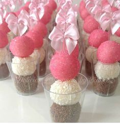 Image may contain: food Birthday Party Snacks, Party Treats, Small Desserts, Mini Desserts, Cake Pops, Baby Shower Sweets, Pink Sweets, Ballerina Birthday, Diy Birthday Decorations