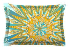 Here Comes The Sun by Art Love Passion Blue Cotton Pillow Sham