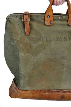 goodbye heart vintage: Vintage Bell System Canvas - Leather Tool Bag Tote Carry All Vintage Luggage, Vintage Bags, Vintage Canvas, Leather Tooling, Leather Bag, My Bags, Purses And Bags, Backpack Bags, Tote Bag