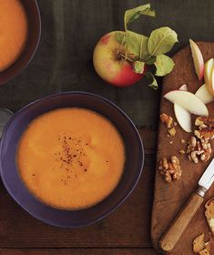 Get the recipe for Sweet Potato and Apple Soup With Cheese and Walnuts  Spiced with nutmeg, this cream-free soup of pureed sweet potatoes and apples makes a warm, comforting meal.