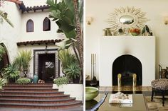 Hacienda style exterior #spanish #inspired #exterior #facade #curb #appeal #entry #fireplace #steps #windows