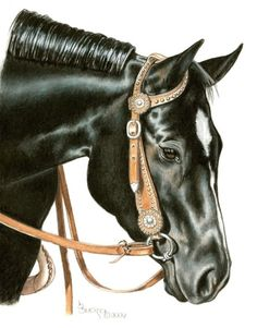Black Quarter Horse Mare Portrait in Colored by BrucknerCowboyArt, $18.99