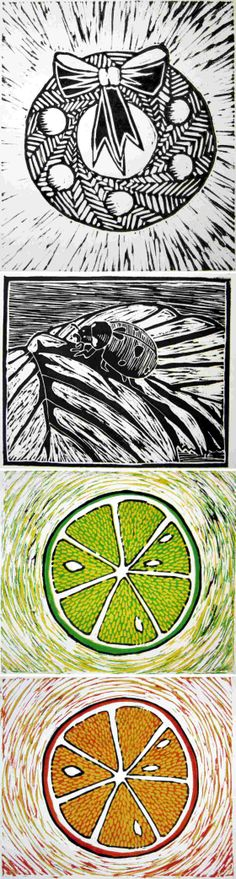 A series of #linocuts. The #colour-reduction one obviously took longest but was fun to do.  #ladybug #ladybird #orange #lime #wreath #print #printmaking
