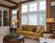 Loving the lamps, tables, ottoman  Lauren Nicole Designs | Family Room Interior Design Charlotte NC Lake Norman
