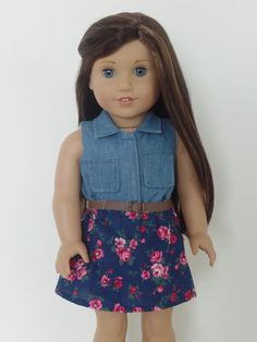 Denim and Floral Dress for American Girl Dolls The bodice is made from a soft denim fabric and the skirt is made from a floral cotton fabric. The belt completes the outfit. The listing is for the dress only. My items are made with quality fabrics and sewn American Girl Outfits, Ropa American Girl, My American Girl Doll, American Girl Crafts, American Doll Clothes, Ag Doll Clothes, Doll Clothes Patterns, Doll Patterns, Dress Patterns