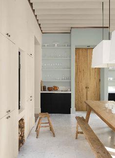 peinture murs cuisine couleur lin et bleu tendance rétro chic