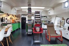 Amazing house boat interior.