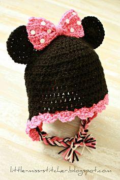 Little Miss Stitcher: Toddler Crochet Minnie Mouse Earflap Hat (free pattern)