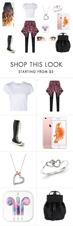 """""""💜💜"""" by tatis26 ❤ liked on Polyvore featuring RE/DONE, Converse, Disney, Kevin Jewelers, Hot Topic and DESA 1972"""