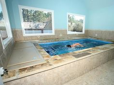 Learn which Endless Pool is right for you. Endless Swimming Pool, Small Swimming Pools, Luxury Swimming Pools, Above Ground Swimming Pools, Luxury Pools, Small Backyard Pools, Small Pools, Dream Pools, Outdoor Pool