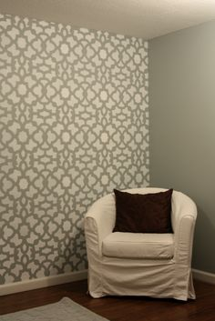 Stenciled wall  http://iheartorganizing.blogspot.com/2011/08/we-did-it-and-how-to-stencil-wall.html