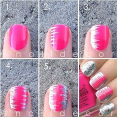 series of stripes - use a tooth pick to create the designs