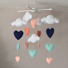 Baby mobile Cot mobile clouds and hearts Cloud by EllaandBoo