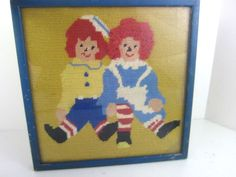 Raggedy Ann & Andy Vintage Completed Wool Needlepoint Framed Art Needlework