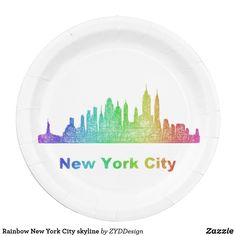 Rainbow New York City skyline Paper Plate #NY #NYC #NewYork #NewYorkCity #rainbow #plate #kitchenware #tableware #tabletop #party #partysupply #partysupplies #paperplate #zazzle #graphicdesign #colorful #skyline #city