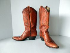 Dan Post Cowgirl Boots // Vintage Cognac Leather by pearlsvintage, $68.00