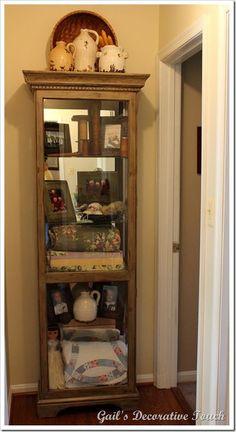 Elegant Shabby Chic Corner Curio Cabinet
