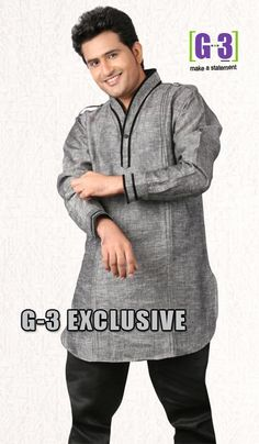G3 Fashions Grey Linen Short Pathani Kurta  Product Code : G3-MSP1017 Price : INR RS 2154