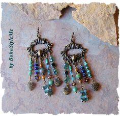 Boho Chandelier Earrings, LOVE Assemblage Earrings, Turquoise and Blue Dangle Earrings, BohoStyleMe, Kaye Kraus