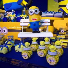 Blue and yellow decorations at a Despicable Me Minions birthday party! See more party ideas at CatchMyParty.com!