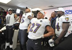From left, Ray Lewis, Terrell Suggs, Ray Rice and Vonta Leach celebrate the Ravens' win over the Patriots in the AFC championship game.