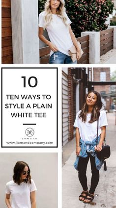 A plain white tee is as versatile as it is classic. It can look casual or extremely casual. We've put together a list of our 10 favorite plain white tee shirt outfit ideas. Try one or try them all! White Tee Shirts, Cute Casual Outfits, Jean Outfits, Shirt Outfit, Casual Looks, Plus Size Outfits, Love Fashion, Tees, Clothes