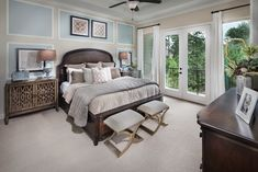 Would you love to fall asleep every night in this master suite? French Country Bedrooms, French Country Decorating, Master Suite, Master Bedroom Makeover, New Homes For Sale, Dream Rooms, House Rooms, House Plans, Sweet Home
