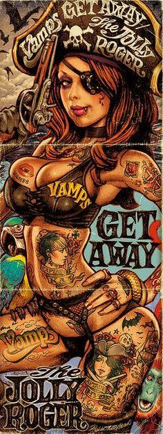 "rockin' jelly bean (combined album artwork for ""vamps-get away-the jolly roger"") Fantasy Anime, Fantasy Art, Aztecas Art, Drawn Art, Pirate Life, Lowbrow Art, Arte Pop, Pin Up Art, Sexy Cartoons"