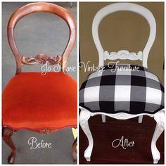 Refurbished vintage chair painted & upholstered www.facebook.com/jomarievintagefurniture