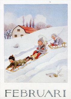 Set of 12 new single postcards by Elsa Beskow, 12 months, cute Elsa Beskow, Images Vintage, Vintage Pictures, Vintage Cards, Vintage Postcards, Groundhog Day, Winter Wonder, Winter Fun, Children's Book Illustration