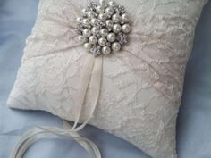 Ivory Lace Ring Bearer Pillow $42